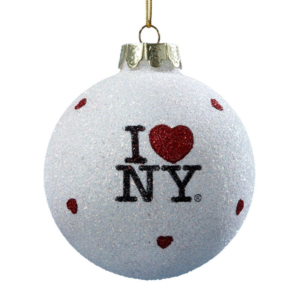 I Love NY Glitter Blown Glass Ornament photo