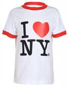 I Love NY White Ringer Kids T-Shirt