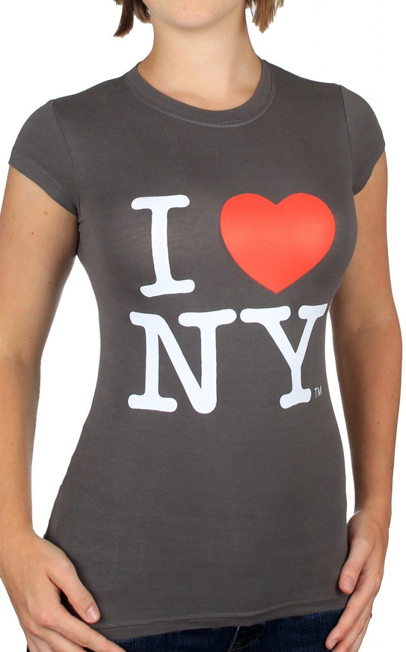 I Love NY Charcoal Ladies Fitted Tee photo