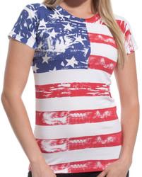 American Flag Ladies Fitted Tee