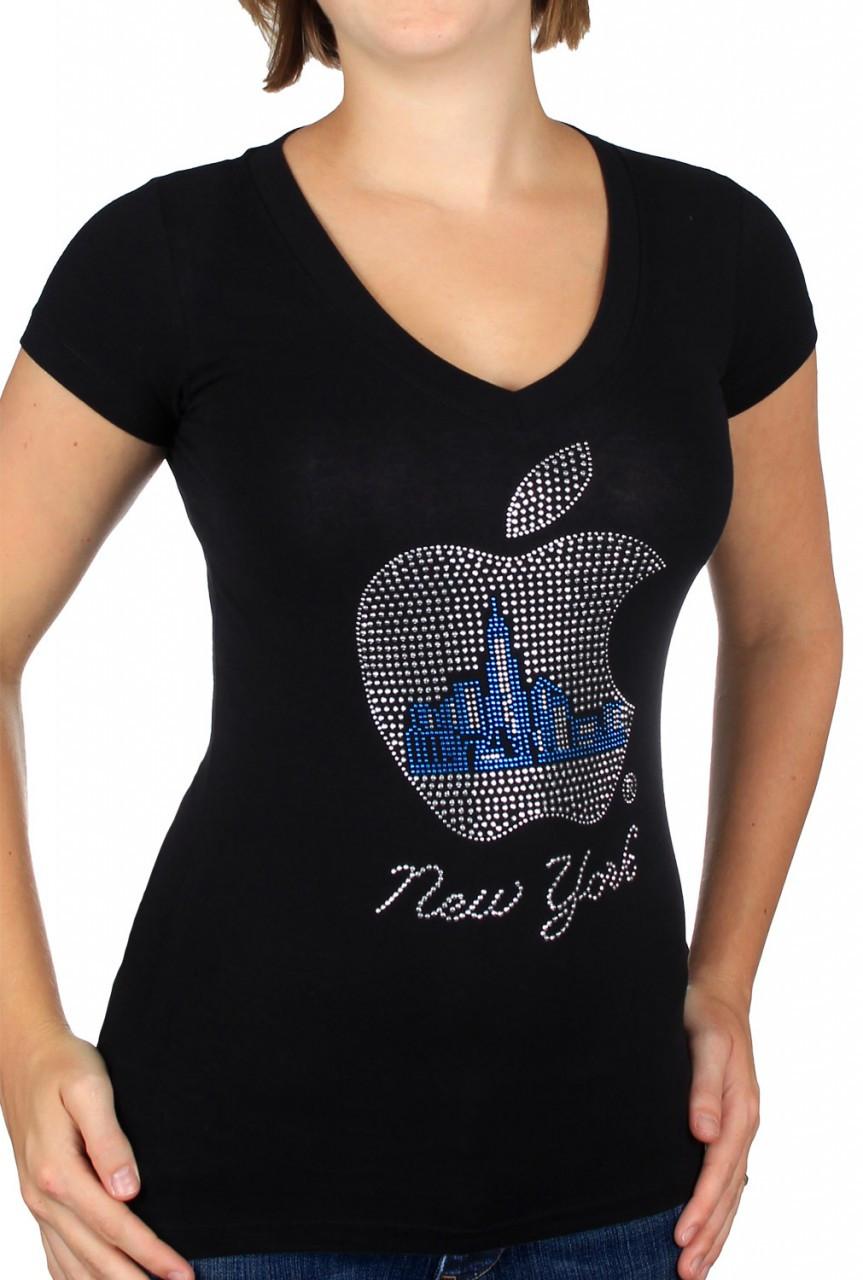 Black Rhinestone Big Apple Ladies Fitted V-Neck Tee photo