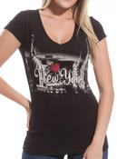 B/W Rhinestoned New York Skyline Ladies Fitted Tee
