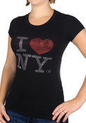 Black I Love NY Rhinestones Ladies Fitted Tee