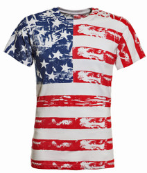 American Flag Distressed Full Body T-Shirt Photo