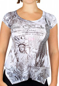 NYC Fashion White Flowy Ladies Shirt- front