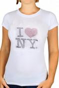 White I Love NY Rhinestone Tee