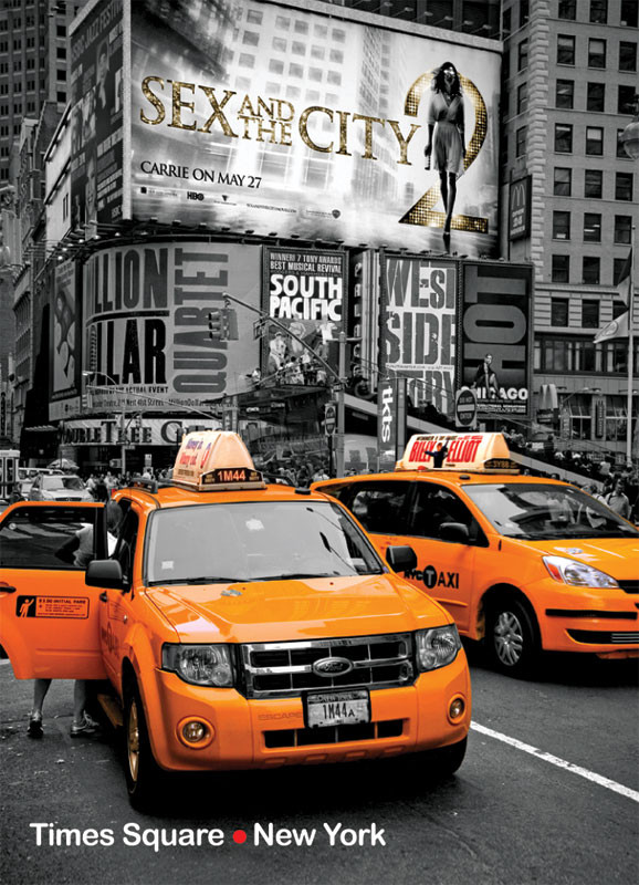 Yellow Cabs on Times Square II Photo Magnet photo