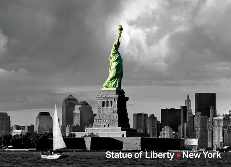 Statue of Liberty and New Downtown Photo Magnet photo