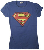 Superman Logo Blue Ladies Fitted Tee