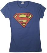 Superman Logo Blue Ladies Fitted Tee