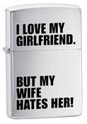 I Love My Girlfriend Brushed Chrome Zippo