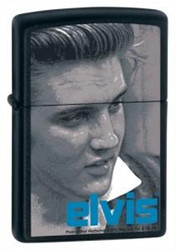 Elvis Blue Alfred Black Matte Zippo - Signature Photo