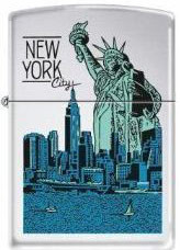 NYC Liberty Skyline Polish Chrome Zippo Photo