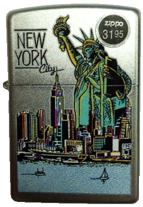 NYC Liberty Skyline Satin Chrome Zippo photo