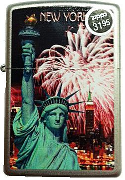 NY Liberty Red Fireworks Satin Chrome Zippo photo
