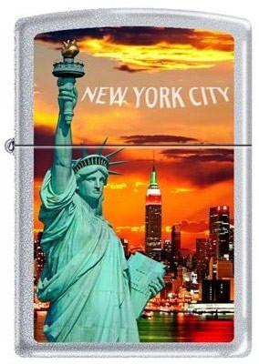 NYC Liberty Sunset Satin Chrome Zippo photo