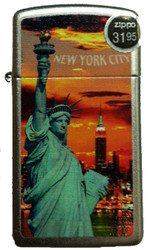 NYC Liberty Sunset Slim Satin Chrome Zippo Photo