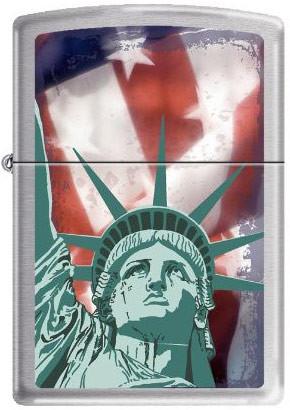 Statue of Liberty US Flag Satin Chrome Zippo photo