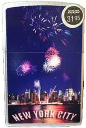 NYC Skyline Fireworks Satin Chrome Zippo Photo
