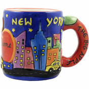 Mug Ceramic Handpainted NY Design Apple Handle 11 Oz