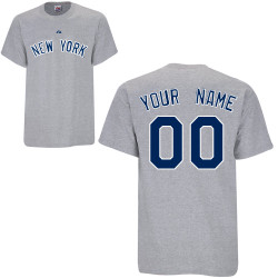 NY Yankees Personalized Grey Adult T-Shirt Photo