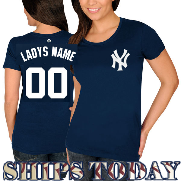 NY Yankees Personalized Ladies Navy T-Shirt Photo. Loading zoom 562be857301