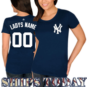 NY Yankees Personalized Ladies Navy T-Shirt