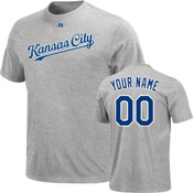Kansas City Royals Personalized Grey Adult T-Shirt