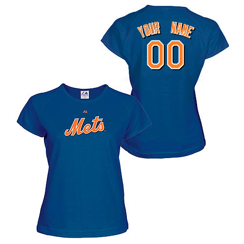NY Mets Personalized Ladies Royal Blue T-Shirt photo