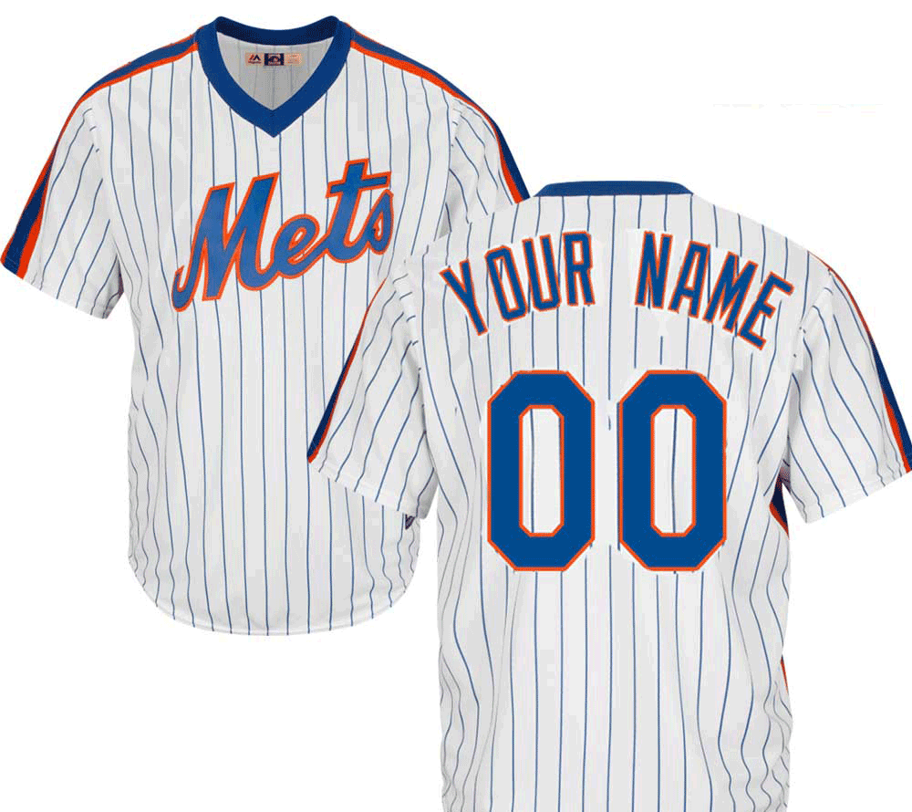 NY Mets Cooperstown Personalized Pinstripe Jersey  photo