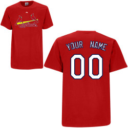 St Louis Cardinals Personalized Red Adult T-Shirt Photo