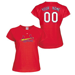 St Louis Cardinals Personalized Ladies Red T-Shirt Photo