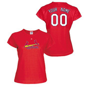 St Louis Cardinals Personalized Ladies Red T-Shirt