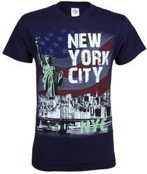 NYC Distressed Liberty Skyline Navy Adult T-Shirt Photo