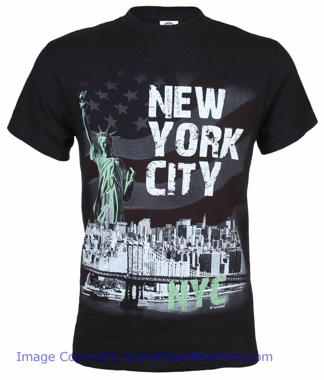 Nyc distressed liberty skyline black adult t shirt for Nyc custom t shirts