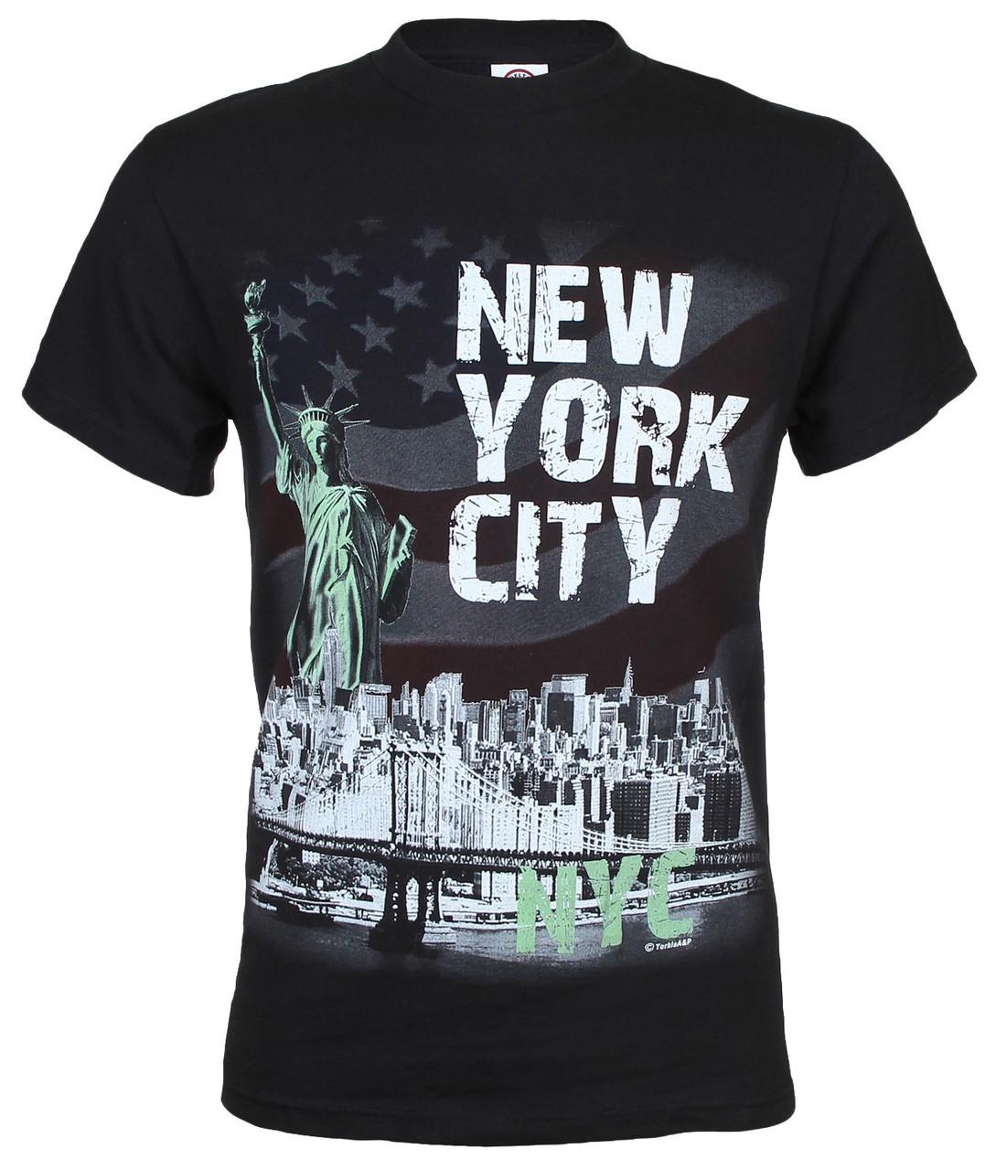 NYC Distressed Liberty Skyline Black Adult T-Shirt photo