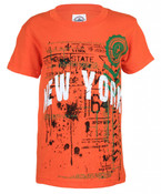 NY Empire State Stamp Orange Distressed Kids T-Shirt