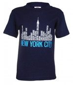 NYC Districts Skyline Navy Kids T-Shirt