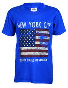 NYC Distressed Flag Blue Kids T-Shirt