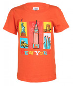 NY Cartoon Icons Orange Kids T-Shirt