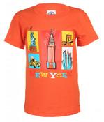 NY Cartoon Icons Orange Kids T-Shirt