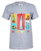 NY Cartoon Icons Grey Kids T-Shirt