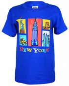 NY Cartoon Icons Blue Kids T-Shirt