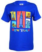 NY Cartoon Icons Blue Kids T-Shirt