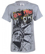 NYC Destroyed Look Grey Kids T-Shirt