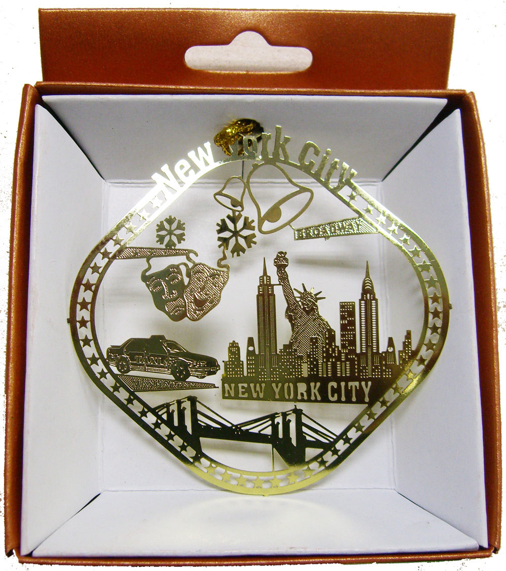 NYC Icons Diamond Shaped Gold Foil Ornament photo