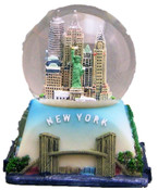 NYC Icons Square Base Blue 45mm Snowglobe - With WTC