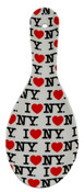 I Love NY Allover White Ceramic Spoon Rest