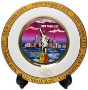 NYC Purple Skyline Gold Edged Souvenir Plate - 6 Inch