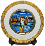 NYC Blue Skyline Gold Edged Souvenir Plate - 6 Inch